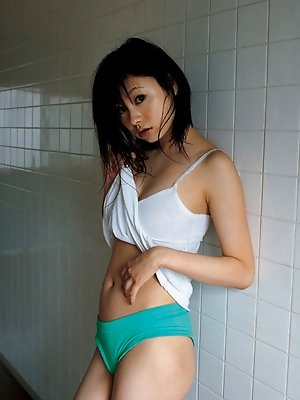 Akina Suzuki Asian in panty takes bra off but hides her big jugs