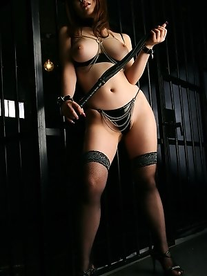 Hot Asian stripper in leather has nice tits and a nice round ass she shows off